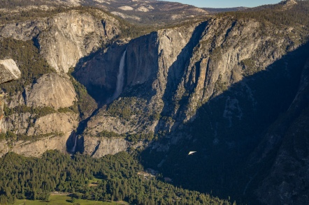 Hang gliders over Yosemite Valley. Shot from Glacier Point